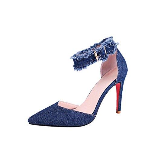 SOMESUN Damen Fashion Denim Sandalen Frau Mädchen Mode Einfarbig Spitz Zehe High Heels Weich Gemütlich Rutschfest Freizeit Beiläufig Schuhe (EU37/CN38, Blau) (Mädchen-toms Sale)