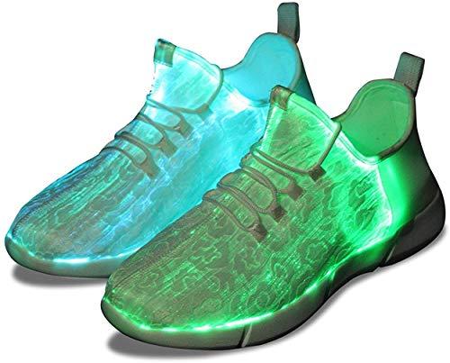 Shinmax Chaussures Fibres Optiques, LED Chaussures à 7 Couleurs 4 Mods USB Rechargeable Allume Chaussures Sneaker Super léger à LED pour Hommes et Femmes,Blanc,42 EU