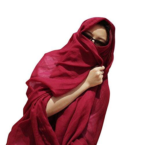 SaiDeng Foulard Echarpes Vintage Chaudes Mulitifonctions Longue Femme Vin Rouge