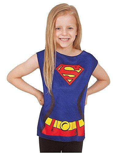 Generique Supergirl T-Shirt für Kinder Blau-Rot-Gelb 98/116 (3-6 -