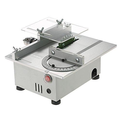 KKmoon 100 Watt Mini Tischkreissäge Aluminium Miniatur DIY multifunktions Holzbearbeitung Banksäge 7000 RPM PCB Cutter Zimmerei Kettensäge Schneidemaschine Präzision Modell Sägen DC 12-24 V (Kettensäge 20 Bar)