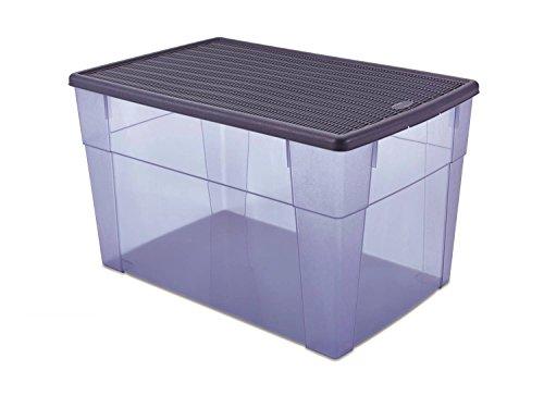 XXL Aufbewahrungsbox 'Elegance' mit Nutzvolumen ca. 62 Liter. In schönem Transparent / Blau mit...