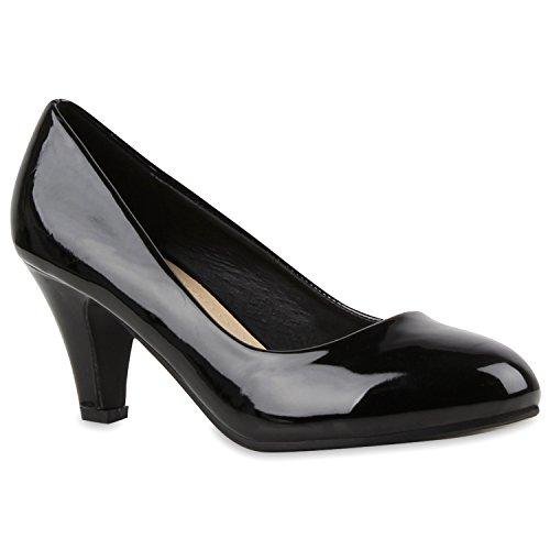 Klassische Damen Pumps Kitten Heels Leder-Optik Absatz Business Schuhe 144264 Schwarz Lack Berkley 39 | (Schuhe Online Frauen)
