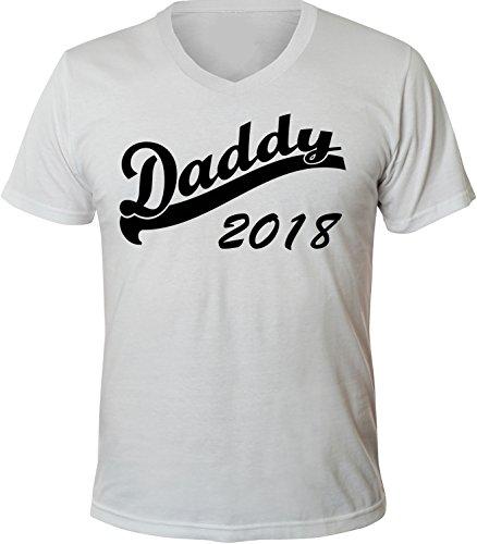 Mister Merchandise Herren Men V-Ausschnitt T-Shirt Daddy 2018 Tee Shirt Neck bedruckt Weiß