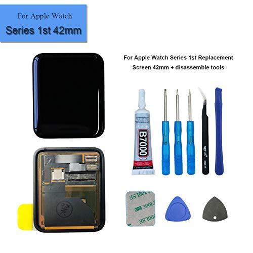 Series Lcd (E-yiiviil LCD Komplett Touch Panel Kompatibel mit Apple Watch Series 1st 42mm Display Glas Schwarz + Tool)