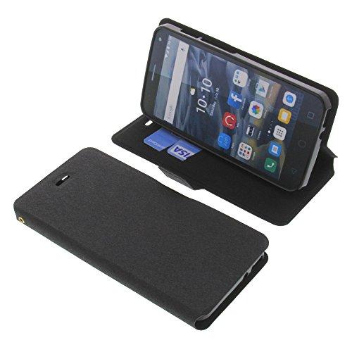 foto-kontor Tasche für Alcatel One Touch Pop 4 Book Style schwarz Schutz Hülle Buch