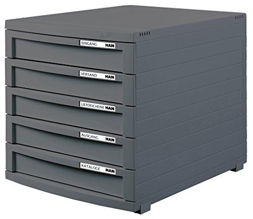 HAN 1505-191 Schubladenbox Contur, Modernes Organisationssystem, Ausbaubar, Premium Qualität für die professionelle Organisation mit 5 Geschlossenen Schubladen, Dunkelgrau