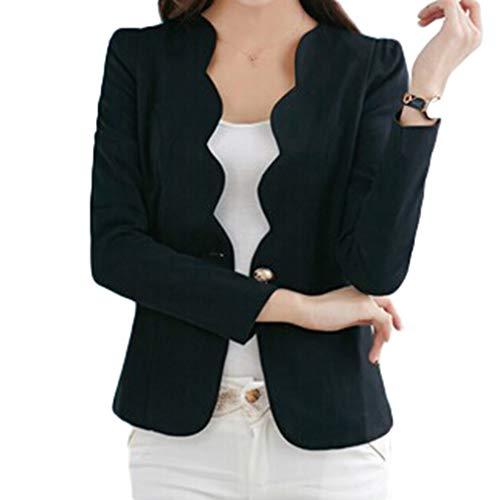 Taschen-dünne Art-Lange Hülsen-Normallack-Knopf-koreanische Klassisch-weibliche Kleine Klage-Jacke 5 Farben-Größe (Klassischen Weiblichen Kostüm)