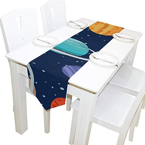 Yushg Erstaunliche Solar System Kommode Schal Tuch Abdeckung Tischläufer Tischdecke Tischset Küche Esszimmer Wohnzimmer Hause Hochzeitsbankett Decor Indoor 13x90 Zoll