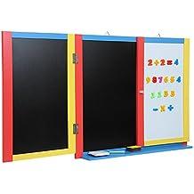 Infantastic - Pizarra plegable de pared para niños (con muchos accesorios) de color negro, azul, rojo y amarillo