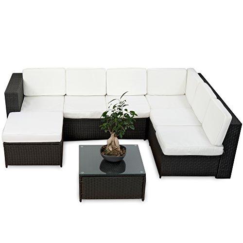 20tlg. Deluxe Lounge Garnitur Set Gruppe Polyrattan Sitzgruppe Gartenmöbel Loungemöbel  - handgeflochten - schwarz von XINRO®