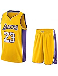 BUY-TO Baloncesto Jersey EE.UU. NBA Lakers Lebron James 23 para Hombres,2PCS-Yellow,S