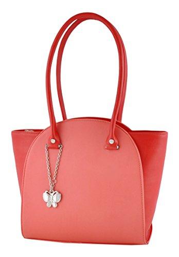 Beiläufige Damen Designer-Handtasche Kunstleder Schultertasche Handtasche Tote Butterflies Pfirsich