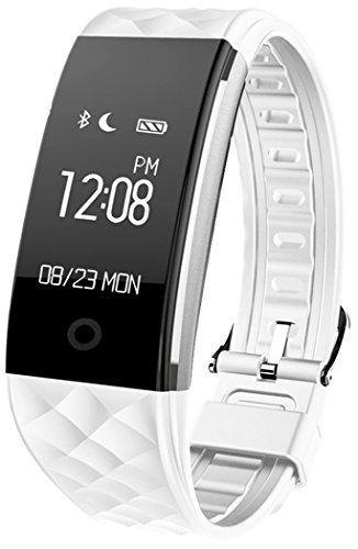 Fitness Armbänder mit Pulsmesser Semaco Fitness Tracker mit Herzfrequenzmesser, Schrittzähler, Schlaf-Monitor, Aktivitätstracker, Remote Shoot, Anrufen / SMS, finden Telefon für Android iOS Smartphone (Weiß)