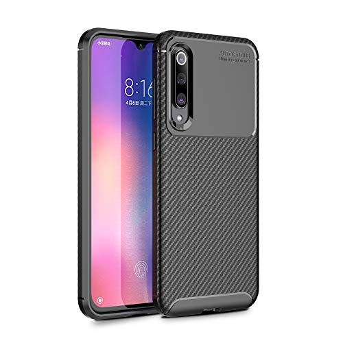 CruzerLite Xiaomi Mi 9 SE Case, Xiaomi Mi 9 Cover Carbon Fiber Texture Design Back Cover Ultra Fit Anti-Scratch Shock Absorption Protective Cover for Xiaomi Mi 9 SE (Black)