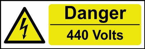Preisvergleich Produktbild Spectrum Industrie 28.115, 3 cm Gefahr 440 Volt Selbstklebendes Vinyl-Zeichen,  Mehrfarbig,  300 x 100 mm