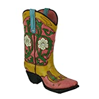 DE LEON Jewel Accented Distressed Pink Cowboy Boot Flower Vase