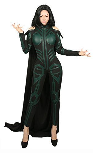 DealTrade Hela Kostüm Cosplay Damen Dunkel Grün Outfit Held Voll Overall mit Langen Cape Halloween Fancy Dress Party Kleidung