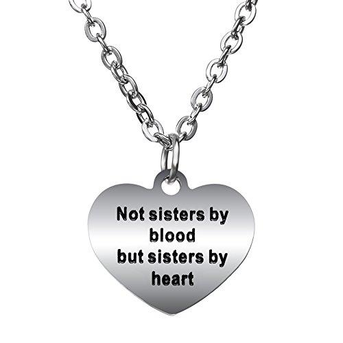 """Bespmosp - collana con ciondolo per migliori amiche, con scritta """"not sisters by blood but sisters by heart"""""""