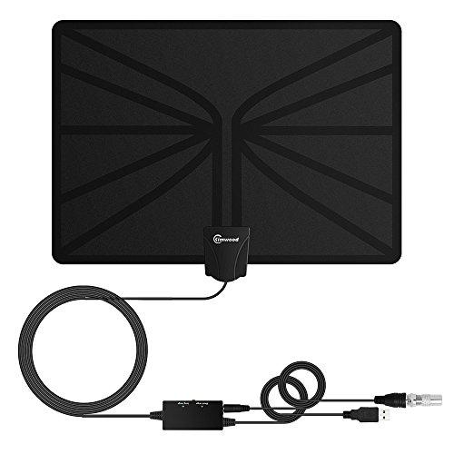 Antena de TV HDTV, Antena Interior (Rango 95km-129km, 5m Cable Coaxial, Rango Adjustable, Amplificador de Señal y Avanzado, Fina y Ligera) (2018 Última Versión)