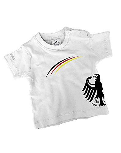 DEUTSCHLAND EM WM BABY FUSSBALL- KIDS- T-SHIRT in Weiss by Jayess-Kids Gr. 80/86 (Fußball-baby-t-shirt)