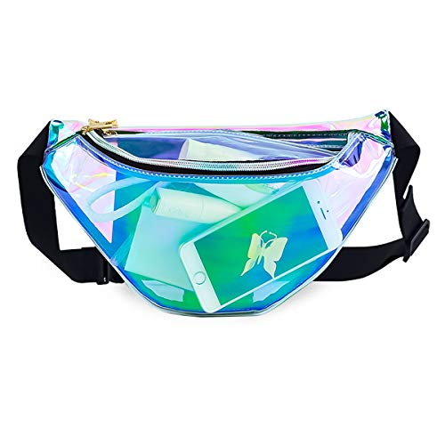 Deeplive Holographic Shiny Neon Waist Fanny Pack Waterproof for Women Girls Men,Holographic Chest Pack Bum Bag for Rave,Festival,Ride,Party, Travel,Musicale (2-Transparent - Women's Space Kostüm