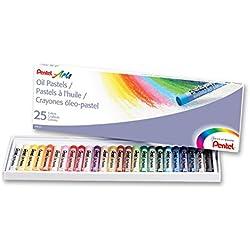 Pentel, PHN-25U, Caja de 25 pasteles de aceite, colores surtidos