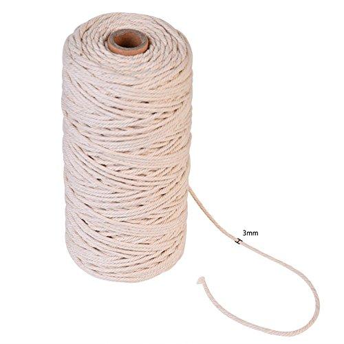 Natürliche Baumwolle Seil Bohemia Makramee, XGZ handgefertigt Baumwolle Cord Makramee Rope DIY Wand Aufhängung Pflanze Aufhänger Craft String stricken (3mm/0,3cm Durchmesser, 200m Länge) (Natürlicher Baumwolle Aus Wahl)