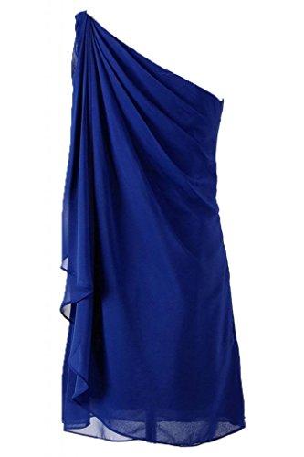 Sunvary stupefacenti in Chiffon abito asimmetrico Bridemaid Abito da Cocktail Blu