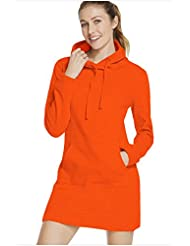 Un bolsillo frontal slim Long Hoodie dress fashion street,S,naranja