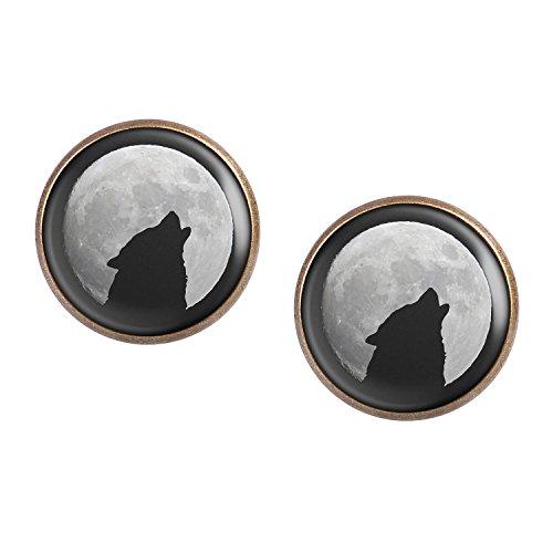 Mylery Ohrstecker Paar mit Motiv Wolf Heult Mond Silhouette Sterne bronze 16mm