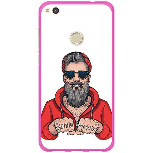 BJJ SHOP Rosa Hülle für [ Huawei P8 Lite 2017 ], Klar Flexible Silikonhülle, Design: Hipster Man, Tattoos mit Bart und Sonnenbrille