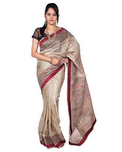 8ba3c68f78 Rajarams Beige Color Madhubani Tassar Silk Stipes Pattern Pure Handloom  Saree.