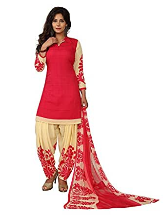 PShopee New Collection Womens Pink Red Peach Color Top Synthetic Semi Patiala Salwar Suit Unstitched Dress Material with Dupatta Combo Floral Pink Red Peach & Cream Printed Semi Patiala with Plain Top, with Cream Border Semi Patiala Suit for Girls