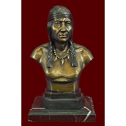 Escultura bronce estatua...Envío gratis...Jefe Guerrero indio nativo americano Arte del busto(58010-JP)Estatuas estatuilla estatuillas desnuda Oficina y Decoración del hogar Coleccionables Primer Día