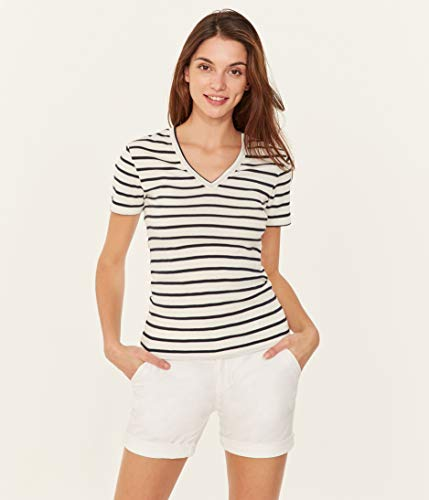 Petit Bateau Damen Tee MC_4888801 T-Shirt, Mehrfarbig (Marshmallow/Smoking 01), Medium (Herstellergröße: M 18ans)
