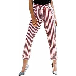 Pantalones Mujer LuckyGirls Verano Rayas Cintura Alta Casual Moda Correa de Leggings (L, Rosa)