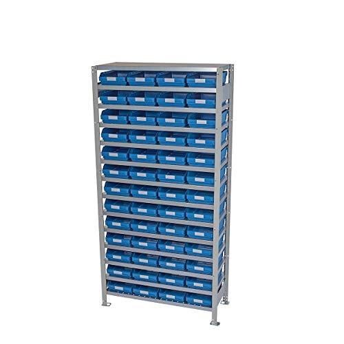 Rayonnage emboîtable avec bacs - hauteur rayonnage 2100 mm - rayonnage de base, profondeur 500 mm, 52 bacs bleus - armoire pour bacs à bec armoires pour bacs à bec bacs de stockage bacs pour rayonnages emboîtables conteneurs à visser rayonnage rayonnage