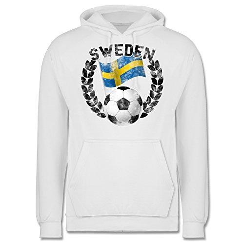 EM 2016 - Frankreich - Sweden Flagge & Fußball Vintage - Männer Premium Kapuzenpullover / Hoodie Weiß