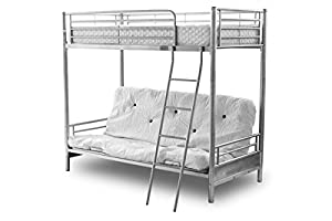 Alaska Futon Bunk Bed Silver With Bottom Mattress Only, Top Single, Bottom Opens to Double, Silver Bunk Bed With Futon Button Mattress colours - Beige, Black, Dark Blue, Pink, Lilac, Red, 50mn Posts, Bedroom Furniture