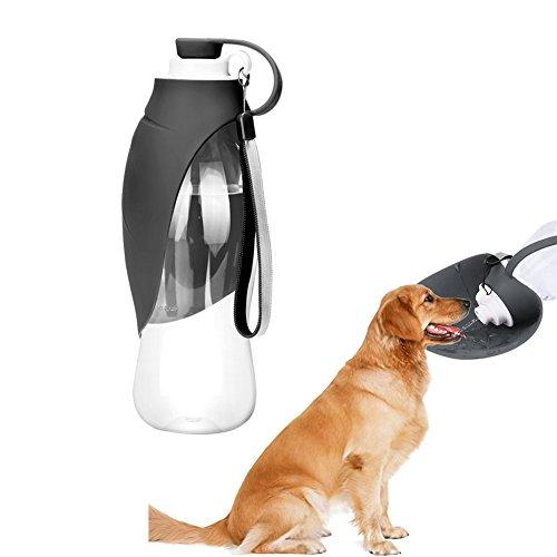 Elec tech Hundetrinkflasche von Robuste Hundeflasche aus DIE Wasserflasche für Hunde Wasserspender Trinkflasche mit NAPF für Unterwegs Hundewasserflasche Perfekt für Reise und Outdoor (Schwarz)