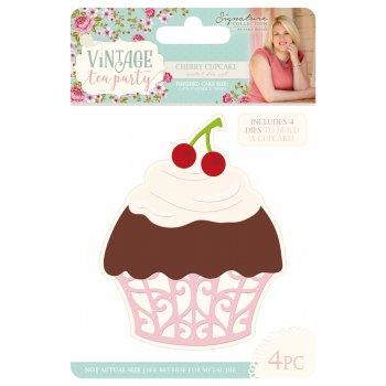 Sara Signature Vintage Tea Party die-cherry Cupcake, Metall, silber, 16,2x 11,2x 0,2cm (Tea-party-cupcakes)