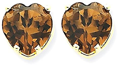 IceCarats 14k Yellow Gold 8mm Heart Smoky Quartz Earring