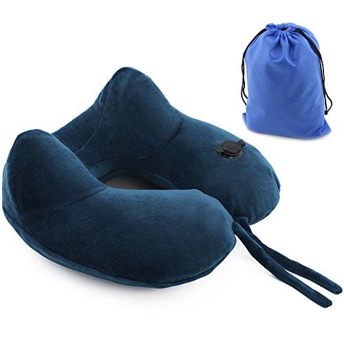 SueH Design Almohada de Viaje Inflable para Cuello con Cubierta Marina de Terciopelo