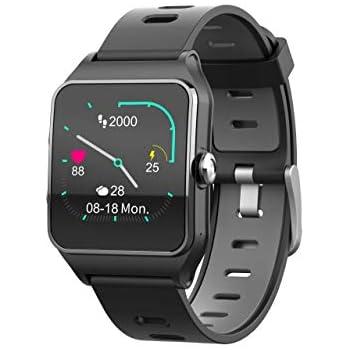 Funker T9 Track Master Negro Smartwatch para Hombre o Mujer Impermeable IP68 Pantalla Táctil Pulsera de Actividad Bluetooth con GPS y Monitor de Ritmo ...