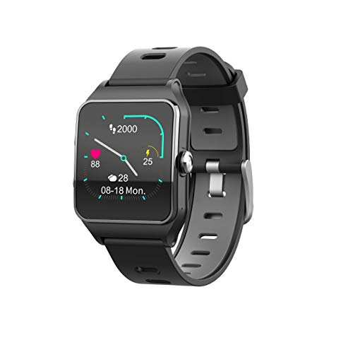Oferta de Funker T9 Track Master Negro Smartwatch para Hombre o Mujer Impermeable IP68 Pantalla Táctil Pulsera de Actividad Bluetooth con GPS y Monitor de Ritmo Cardíaco para iOS Android