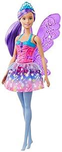 Barbie Dreamtopia Muñeca Hada, Pelo Morado, con Alas Alas y Corona (Mattel Gjk00)