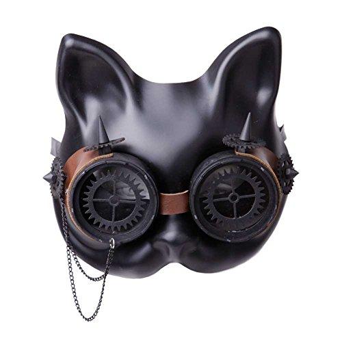 GEEKINVADER Venezianische Steampunk Maske mit Zahnrädern Katzenmaske mit Binokular Halbes Gesicht mit Zahnrädern über 14 Modelle (Make Katze Kostüm Up Einfach)