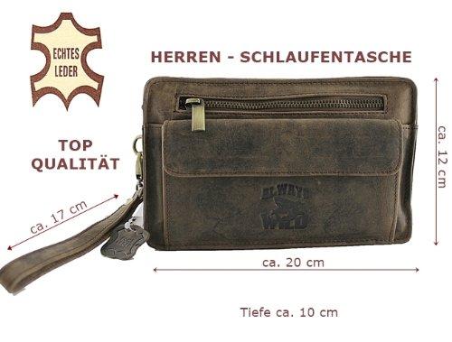 LEDER HANDGELENKTASCHE HERRENHANDTASCHE HERRENTASCHE HANDTASCHE TASCHE Mehrfarbig (Rust) Braun