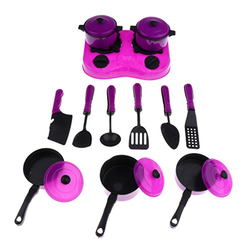 Blesiya 12 Pieces Purple Plastic Cookware Set Kitchen Pretend Play Toy for Kids Toddler